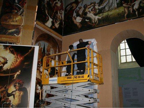 Replica Oranjezaal voor Huygens Tentoonstelling in Grote Kerk Den Haag, groot formaat print op panelen, wanden en plafond, xl printing
