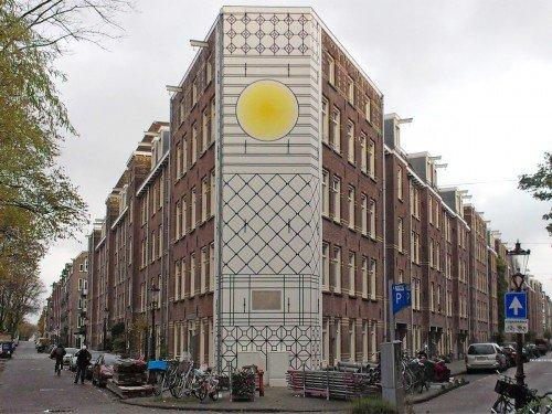 artwork, mural, muurschilderingen op gebouw, groot formaat muurschildering door Aam Solleveldk Kostverlorendekade in Amsterdam, gemaakt door Iwaarden