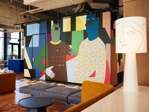 Iwaarden artwork - design van anuli croon voor mural uitgevoerd als print op wand