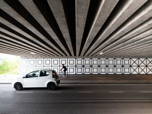 artwork, kunstproject, muurschildering in een tunnel. Aam Solleveld in Amsterdam, kunst in een tunnel, door Iwaarden