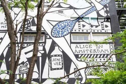 Muurschildering voor het Andaz Hotel Amsterdam, Ontwerp mural door Marcel Wanders, Uitvoering door Iwaarden