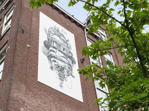 muurschildering, mural, artwork van iwaarden, nouch in Amsterdam