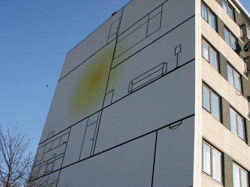 Kunstwerk op flatgebouwen, Graan voor Visch, kunstproject, muurschildering van Aam Solleveld in Hoofddorp, uitgevoerd door Iwaarden, Mural, Artwork