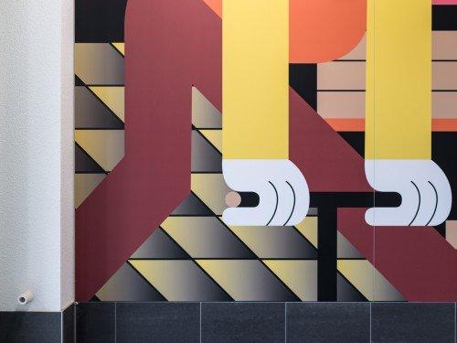 Kunstwerk van illustrator Levi Jacobs uitgevoerd als mural in groot formaat printe op de wanden van appartementengebouw, xl printing