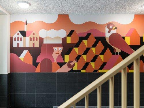 Iwaarden artwork - design van levi jacobs voor mural uitgevoerd als print op wand
