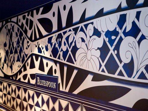 artwork, mural, kunstproject een muurschildering in het andaz hotel in het bluspoon restaurant. in Amsterdam. Gemaakt door Iwaarden