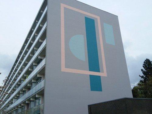 Kunstwerken op flats Haarlem, uitgevoerd door iwaarden, muurschilderingen, artwork, mural