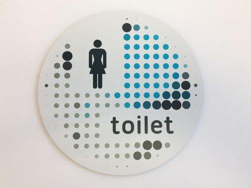 Groot formaat print op plaat, Print-to-plate, signing, Toiletbordje, eibond bewegwijzering, Iwaarden