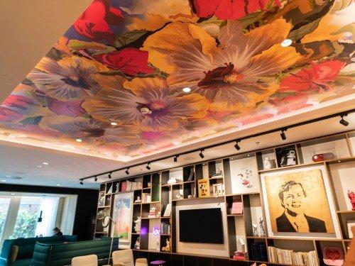 Project in hotel citizenM Amsterdam aan de Amstel, Print op plafon door PinarViola plafonddecoratie