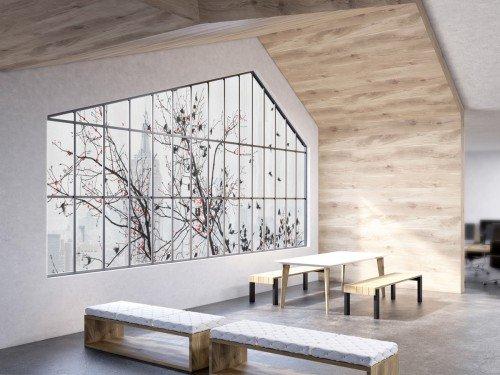 Iwaarden interior - glasbekleding - glasdecoratie met print op squid -zelfklevend textiel- zorgt voor sfeer en privacy