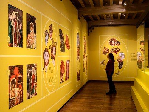 artwork, expositions, exhibits, tentoonstelling in CatharijneConvent in Utrecht. groot formaat print op muur gemaakt door Iwaarden, wallcovering