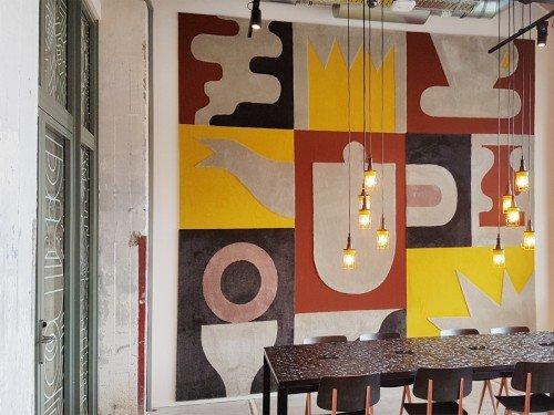 Iwaarden artwork - design - kunst op wand - wandtapijt in the student thotel