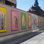 Art in public space - Mural by artist Sigrid Calon in xl print on walls of passage in Tilburg