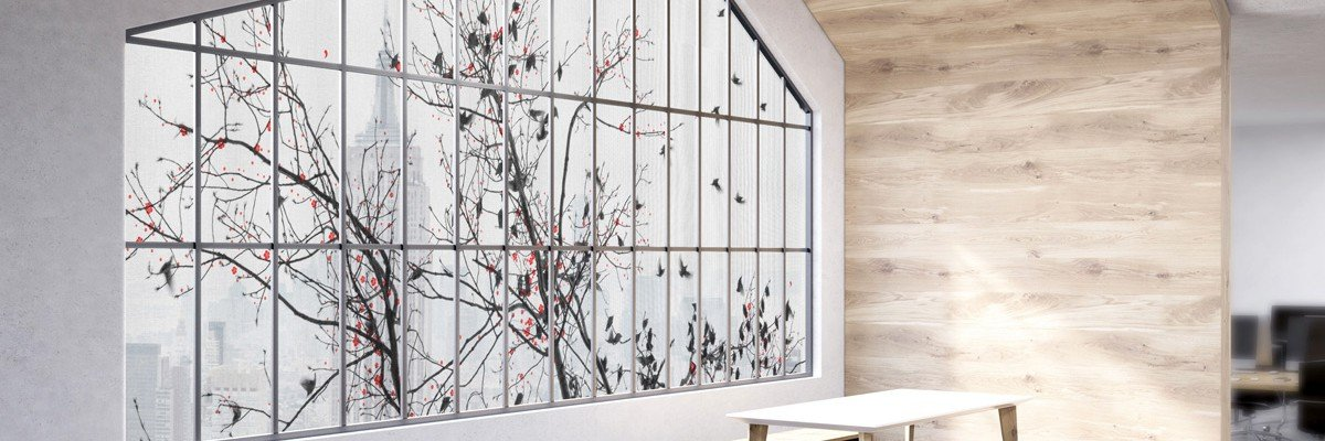 Self-adhesive textile decoration for windows, Iwaarden