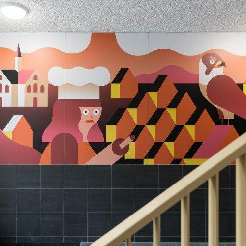 Kunstwerk van illustrator Levi Jacobs uitgevoerd als mural in groot formaat printe op de wanden van appartementengebouw