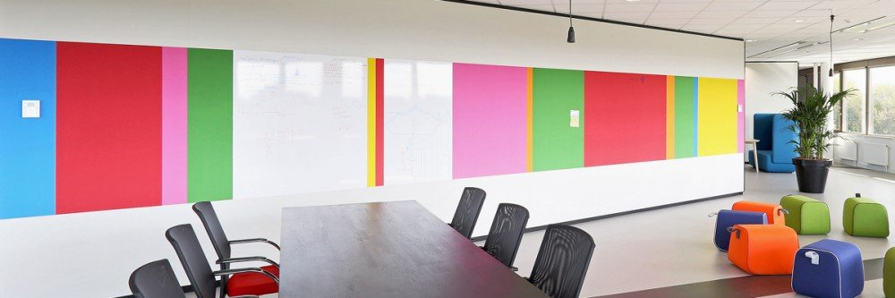 Iwaarden interior - whiteboard - wall covering - use your wall as means of communication with whiteboard wall, increases creativity in company, school or office